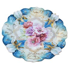 """Fabulous RS Prussia 1900 """"Red, Burnt Orange, Purple, & White Poppy"""" 9-1/2"""" Blown-out Iris Mold Floral Plate"""