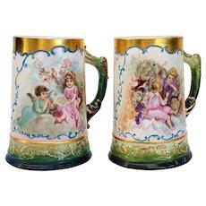 "Pair of Stunning Willets Belleek 1900 Hand Painted ""Putti's"" Scenic Tankard Steins"