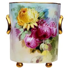 """Outstanding Heinrich & Co. Selb Bavaria 1915 Hand Painted """"Red, Pink, Yellow, & White Chrysanthemum"""" 9-1/2"""" Floral & Footed Cache Pot by Artist, """"Anna Holmes"""""""