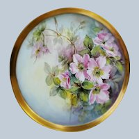 "Absolutely Stunning Bavaria 1900's Hand Painted ""Wild Pink Roses"" 12-1/2"" Floral Tray"