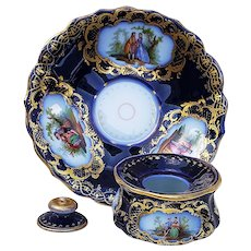 "Outstanding Germany Vintage Richard Klemm Dresden 1900 Hand Painted ""Romantic Couples"" Cobalt Blue Scenic 3-Pc Inkwell"