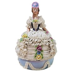 "Scarce & Rare RS Prussia Dresden Hand Painted Elegant ""Victorian Lady in Lace Dress"" 7-3/8"" Figurine 2-Pc Music Box"