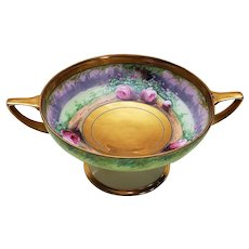 """Stunning Pickard Studio of Chicago 1912 Hand Painted """"Roseland"""" 7-1/2"""" Pedestal Floral Bowl by Listed Artist, """"Curtis Marker"""""""