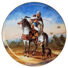 """Exceptional 1880's France Montereau B & Cie Hand Painted Enamel """"Arab Desert Warrior"""" 14"""" Colorful Scenic Charger, by Artist, """"A.D."""""""