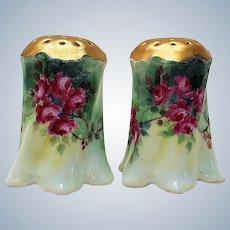 "Beautiful Vintage Bavaria 1900 Pair of Hand Painted ""Deep Red Roses"" Floral Shakers"
