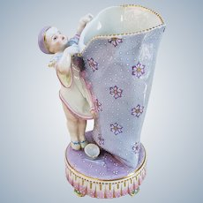 """Charming 1900's Conta Boehme Hand Painted """"Little Girl Pierrot Clown"""" 8-1/2"""" Figurine Floral Vase"""