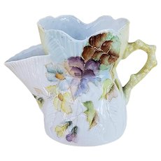 """Stunning RS Prussia 1890's Hand Painted """"Purple, Yellow, & Blue Violets"""" Shell & Coral Decor Scuttle Shaving Mug"""