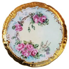 """Gorgeous Vintage 1900's Hand Painted """"Pink Roses"""" 6-1/4"""" Floral Trivet with Heavy Gilded Gold by Artist, """"M. Utgiz"""""""