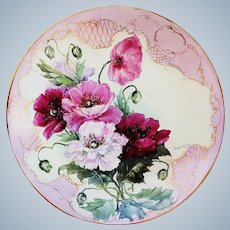 """Magnificent 16"""" Bavaria Hand Painted Lifelike """"Red, Pink, & White Roses"""" Floral Charger, Artist Signed"""