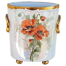 "Just Stunning Heinrich & Co. Selb Bavaria 1916 Hand Painted ""Traced Gold Burnt Orange Poppies"" 8-1/4"" Footed Floral Cache Pot by Chicago Professional Decorator, ""Steve"""