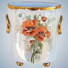 """Just Stunning Heinrich & Co. Selb Bavaria 1916 Hand Painted """"Traced Gold Burnt Orange Poppies"""" 8-1/4"""" Footed Floral Cache Pot by Chicago Professional Decorator, """"Steve"""""""