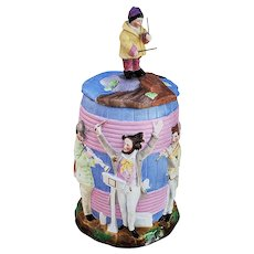 "Stunning Vintage Germany 1900 Hand Painted Colorful ""Bavaria Musician Seven Piece Band"" Figural Humidor"
