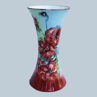 "Superb & Outstanding Favorite Bavaria 1900's Hand Painted ""Deep Burnt Orange Poppy"" 8"" Floral & Flared Corset Vase by Artist, ""G. Carson"""