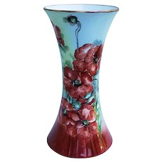 "Superb & Outstanding Favorite Bavaria 1900's Hand Painted ""Deep Burnt Orange Poppy"" 8"" Floral & Flared Corset Vase by Artist, ""G. Carson"""