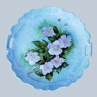 "Beautiful Bavaria 1900's Hand Painted Soft ""Wild Pink Roses"" 11"" Floral Plate by the Artist, ""V. Small"""