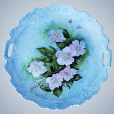 """Beautiful Bavaria 1900's Hand Painted Soft """"Wild Pink Roses"""" 11"""" Floral Plate by the Artist, """"V. Small"""""""