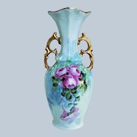 "Charming Bavaria 1900's Hand Painted ""Deep Pink Roses"" 6-3/8"" Ornate Floral Vase"