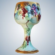 """Spectacular & Exceptional Jean Pouyat Limoges France 1900's Hand Painted """"Red Currant"""" 10-3/4"""" Fruit Chalice by Artist, """"K.R.E."""""""