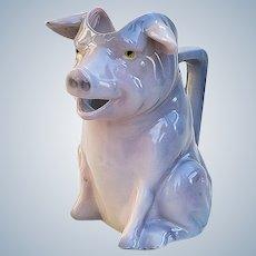"""Captivating Vintage Bavaria Royal Bayreuth 1900's """"Gray Pig"""" Figural Pitcher"""