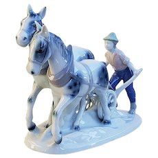 "Magnificent Gerold Porzellan Bavaria 1900's Hand Painted ""Farmer & 2 Horses Tilling the Field"" 8-1/2"" Figurine"