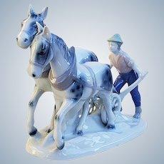 "Magnificent Gerold Porzellan Bavaria 1900's Hand Painted ""Farmer & 2 Horses Tilling the Field"" 8-1/2"" Figurine"