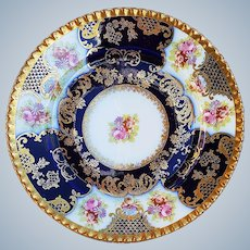 """Stunning O.& E.G. Royal Austria 1900's """"Roses, Violets, & Pansies"""" with Brilliant Gilded Gold & Cobalt 8"""" Floral Plate"""