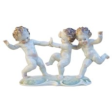 "Charming Vintage Hutschenreuther Selb Bavaria Germany 1900's Hand Painted ""Three Dancing Cherubs"" 8-3/4"" Figurine by Artist, ""K. Tutter"""