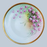"Beautiful Vintage Thomas Bavaria 1910 Hand Painted ""Petite Pink Roses"" Floral Plate by Listed Artist, ""Asbjorn Osborne"""