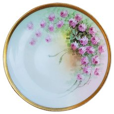 """Beautiful Vintage Thomas Bavaria 1910 Hand Painted """"Petite Pink Roses"""" Floral Plate by Listed Artist, """"Asbjorn Osborne"""""""