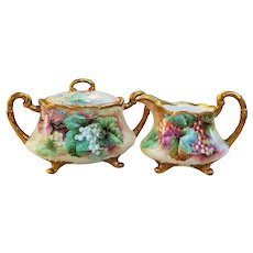 "Exquisite Ginori Italy 1900's Hand Painted ""Red Currant & Green Grapes"" Fruit & Footed Sugar & Creamer by the Artist, "" O. Bini"""