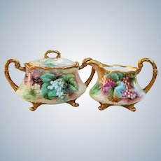 """Exquisite Ginori Italy 1900's Hand Painted """"Red Currant & Green Grapes"""" Fruit & Footed Sugar & Creamer by the Artist, """" O. Bini"""""""