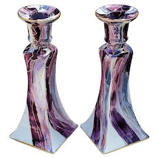 "Breath-Taking Bavaria Hand Painted ""Art Deco Style Lavender & Lavender-Red"" Pair of Matched Candlestick Holders by Artist, ""Margie Razar"""