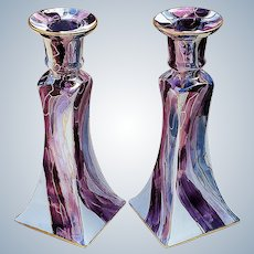 """Breath-Taking Bavaria Hand Painted """"Art Deco Style Lavender & Lavender-Red"""" Pair of Matched Candlestick Holders by Artist, """"Margie Razar"""""""