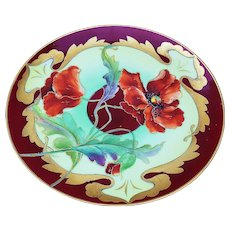 """Spectacular Haviland & Co. & D'Arcy's Studio 1900's Hand Painted """"Burnt Orange Poppy"""" 9-1/4"""" Floral Plate with Gold Tracing by the Artist, """"Kasper"""""""