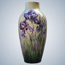 "Stunning Limoges France Vintage 1900's Hand Painted ""Iris"" 10-1/4"" Floral Vase"