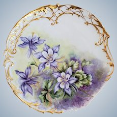 """Extraordinary & Spectacular Elite Limoges France Vintage 1900's Hand Painted """"Lavender Columbine"""" Floral Plate by Artist, """"M. Mason"""""""