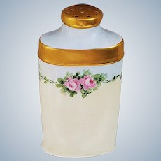 """Charming RS Prussia 1900 Hand Painted """"Chain of Pink Roses"""" Floral Talcum Powder Shaker"""