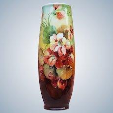 """Wonderful Vintage Vienna Austria 1900 Hand Painted """"White, Yellow, & Burnt Orange Nasturtiums"""" 10"""" Floral Vase"""