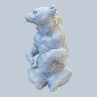"Striking Germany Wallendorfer Porzellan 1900's Hand Painted ""Sitting Polar Bear"" 5-3/4"" Detailed Figurine"