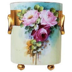 """Fabulous Heinrich & Co. Selb Bavaria 1900's Hand Painted """"Red & Pink Roses"""" 8"""" Footed Floral Cache Pot by Artist, """"Polehow"""""""