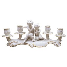 "Exceptional & Large 16"" Vintage Hutschenreuther Selb Germany Hand Decorated Cherubs Playing Musical Instruments Four Candles Candleabra Figurine Candle Holder by Artist, ""Karl Tutter"""