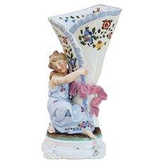 "Wonderful 1900's Vintage German Conta & Boehme Hand Painted ""Maiden Holding a Cornucopia Horn"" 10"" Floral Figurine Vase"
