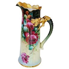 "Spectacular Museum Quality Jean Pouyat Limoges France 1900's Hand Painted Vibrant ""Deep Red Roses"" 14-3/4"" Dragon Handle Floral Tankard by Pickard Artist, ""Edward Donath"""