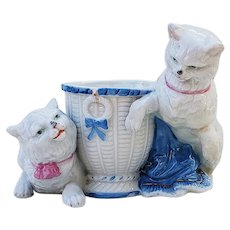 """Wonderful & Scarce Germany 1900's Hand Painted """"Two White Cats"""" Beside a Toothpick/Match Holder Figurine"""