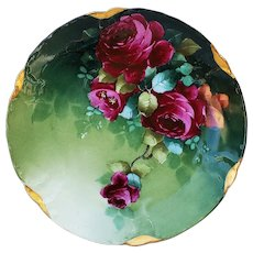 """Simply Gorgeous Vintage Rosenthal 1900's Hand Painted """"Deep Red Roses"""" Floral Plate by Pickard Artist, """"Edward Donath"""""""