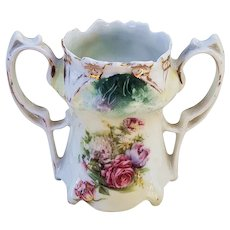 """Beautiful Vintage RS Prussia 1900 """"Bowl of Flowers"""" 2-1/2"""" Point & Clover Mold Floral Toothpick Holder"""