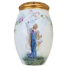 "Fabulous Germany Double Portrait 1900's Hand Painted ""Lady With the Doves"" & ""Lady with the Peacock"" with ""Chain of Roses"" 4-1/2"" Floral Sugar Shaker, Artist Signed"