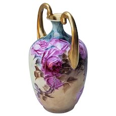 """Stunning Bavaria 1900's Hand Painted """"Red Roses"""" 8"""" Floral Muscle Vase"""