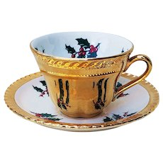 "Wonderful Dixon Art Studio of Ohio 1961 ""Christmas Holly & Berry"" 22 K Gold Cup & Saucer"