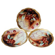 """Spectacular Limoges France & Pickard Studio of Chicago 1904 Hand Painted Vibrant """"Cherries"""" Set of 3 Fruit Plate by Artist, """"Otto Goess"""""""